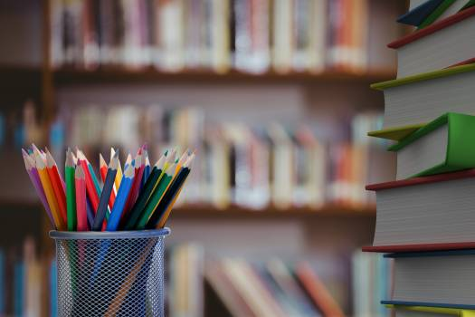 Pencils and stack of books with library background #411232