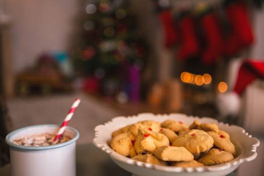 Christmas cookies on plate with a cup of milk #411267