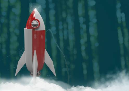 3D Rocket in forest Free Photo