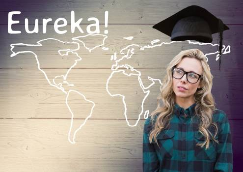 Text eureka and thoughtful teenage standing with mortar board above head #411339