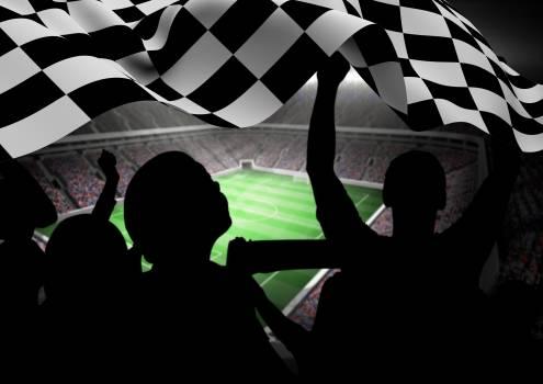Fans holding checker flag in stadium #411340