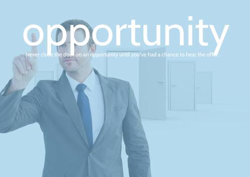 Businessman touching text opportunity #411351