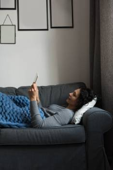 Woman using digital tablet at home #411354
