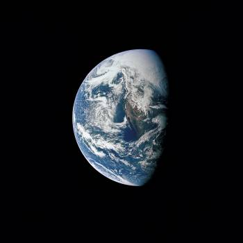 Photograph of Earth taken from Apollo 13 spacecraft during transearth journey Free Photo
