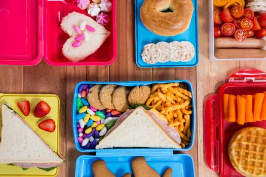 Lunch box with various snack and sweet food #411411