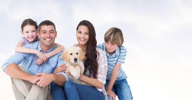 Happy family with dog #411523