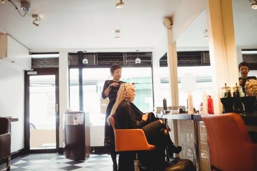 Female hairdresser styling clients hair Free Photo
