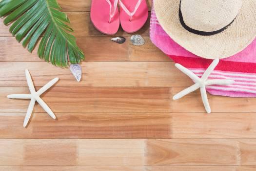 Beach accessories on wooden board #411681