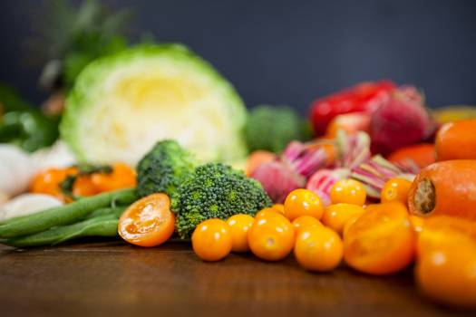 Variety of fresh vegetables on table - diet concept #411754