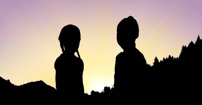 Silhouette children against sky during sunset #411799