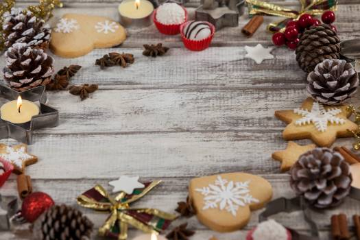 Christmas cookies with various types of decoration #411826