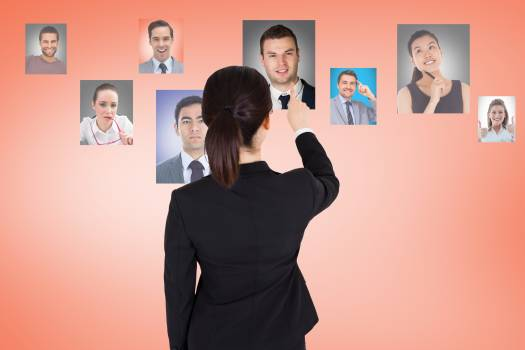 Digital composite image of businesswoman hiring employees #411892