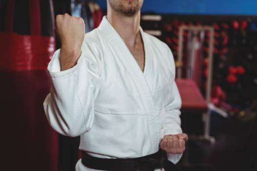 Karate player performing karate stance Free Photo