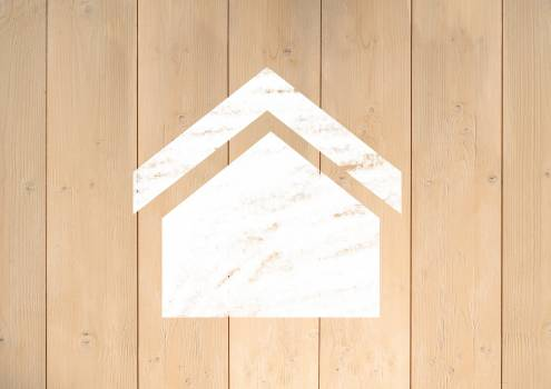White home icon on wooden plank background #412051
