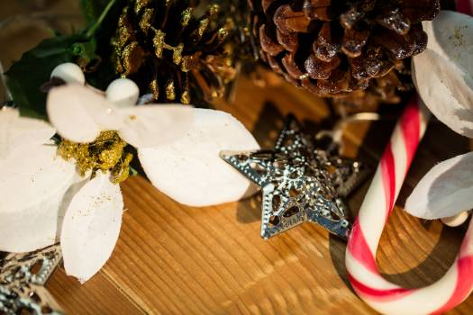 Christmas decorations on wooden plank #412361