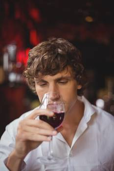 Man having a glass of red wine #412462