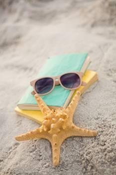 Starfish, sunglasses and books on sand  Free Photo