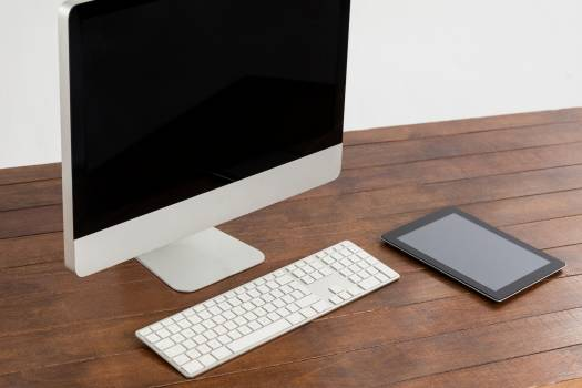 Office desk with pc and digital tablet #412517