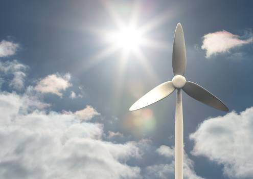 Wind turbine on a sunny day #412536