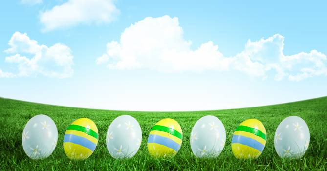 Easter eggs in front of blue sky #412645