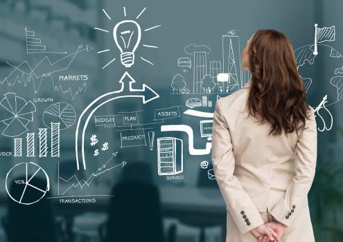 Rear view of businesswoman looking at graphics on wall #412673