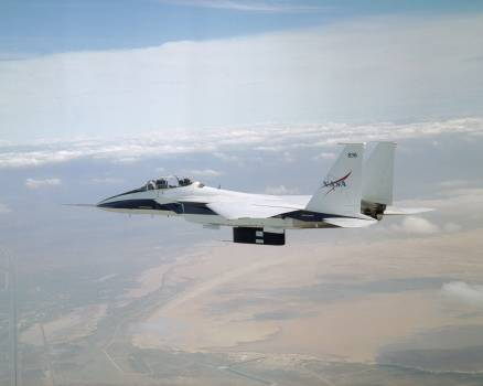 All six divots of thermal insulation foam have been ejected from the flight test fixture on NASA's F-15B testbed as it returns from a LIFT experiment flight. #412751