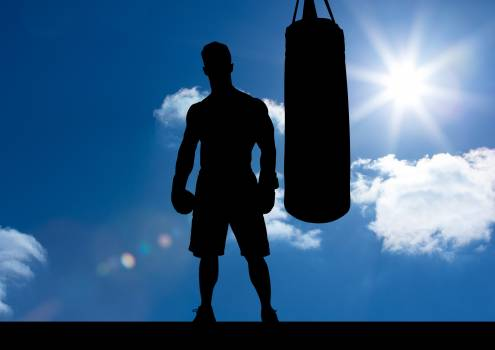 Silhouette of boxer with punching bag against sky background Free Photo