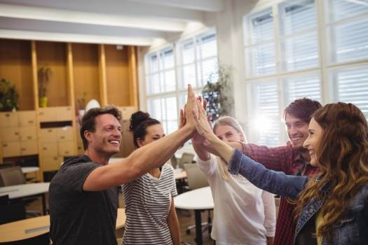 Group of business executives giving high five Free Photo