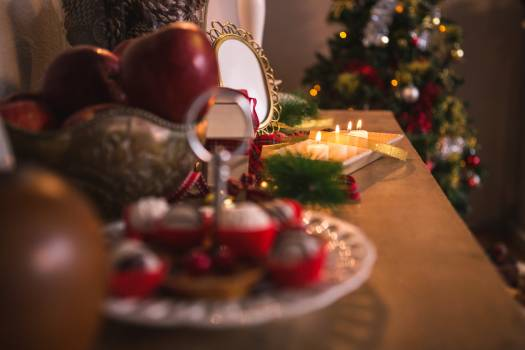 Christmas decorations on wooden table #413405