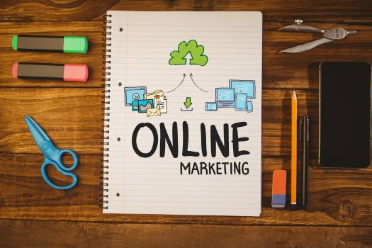 Online marketing and graphic against notepad  #413447