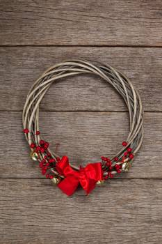 Grapevine wreath with red ribbon #413458