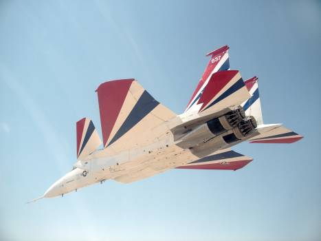 NASA Dryden's highly modified F-15B aircraft, tail number 837, serves as an Intelligent Flight Control System (IFCS) research testbed aircraft #413490