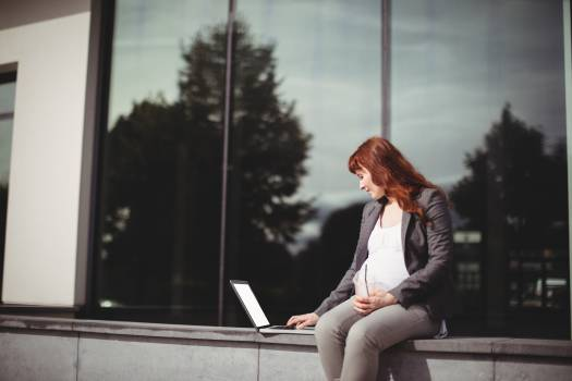Pregnant businesswoman using laptop #413558