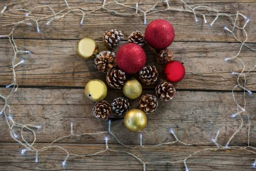 Pine cone and bauble ball decorated with rice light #413583