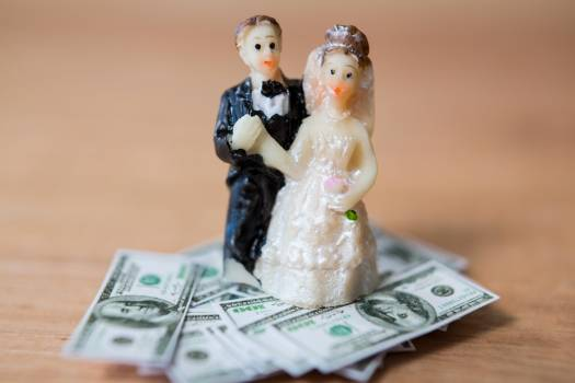Miniature bridal couple standing on bank note #413585