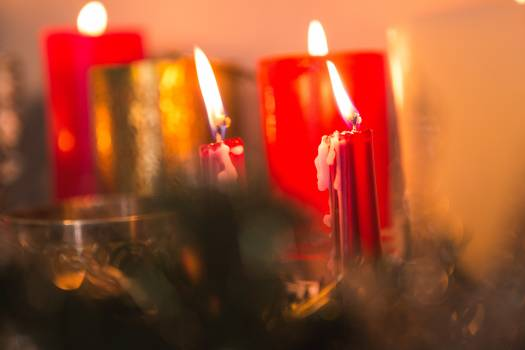 Close-up of candles burning #413632
