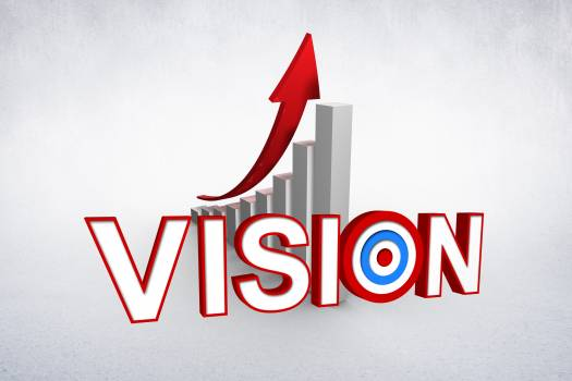 Vision in front of graph with arrow Free Photo