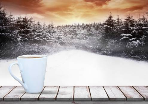 Coffee mug kept on wooden plank against snow forest background #413697