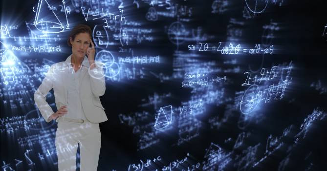 Digital composite image of confused businesswoman surrounded with equations #413832