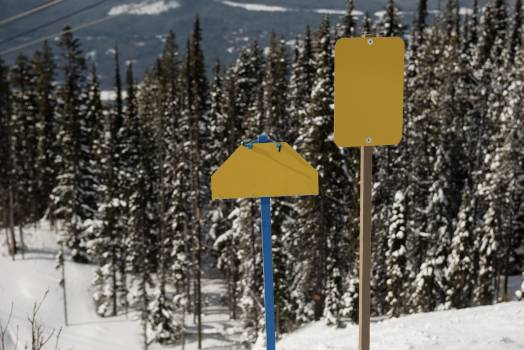 Sign pole on snowy slope #413915