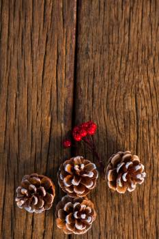 Pine cone with fake snow and cherry on wooden plank #413958