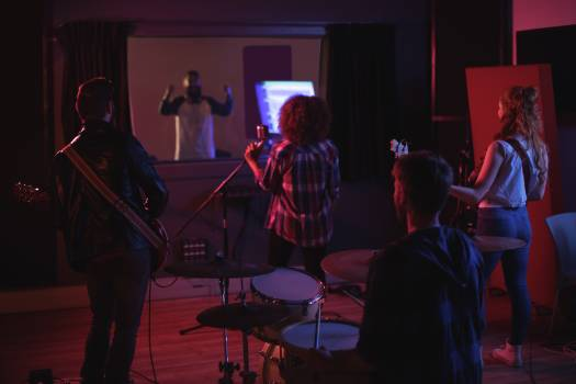 Band performing in recording studio #413990