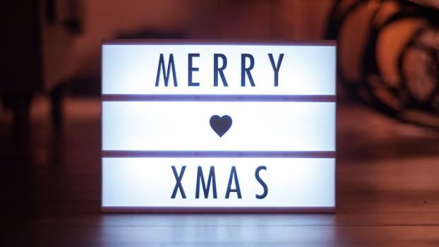 Merry Xmas Light Sign Heart Free Photo Free Photo