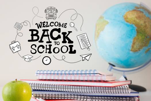 Welcome back to school text with notebooks globe and apple #414276