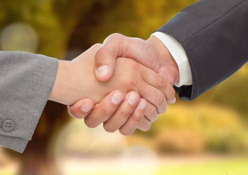Business executives shaking hands against blurr background #414299