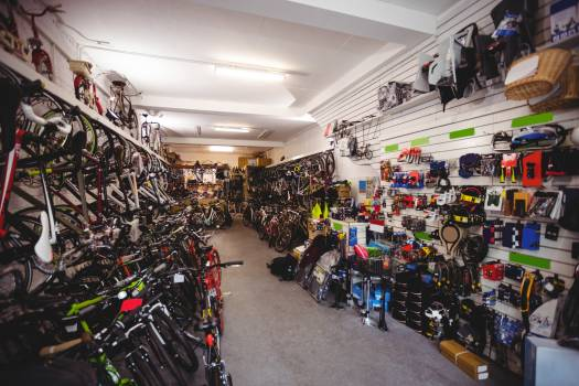 Bicycles and accessories in workshop #414323