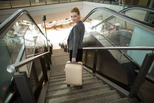 Business woman standing on escalator with luggage #414330