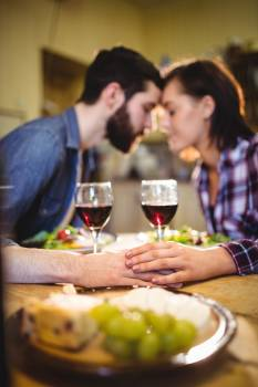 Couple romancing while having wine and breakfast #414379