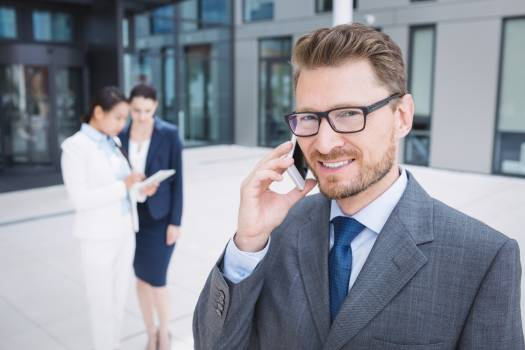 Businessman talking on mobile phone #414417