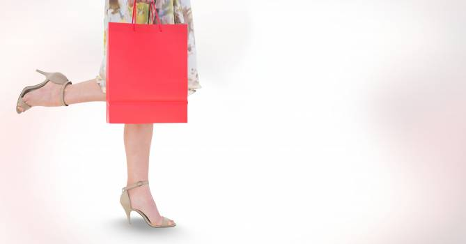 Low section of woman carrying shopping bag #414453